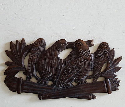 ANTIQUE FRENCH HAND CARVED WOOD PEDIMENT Bird Love FOLK ART