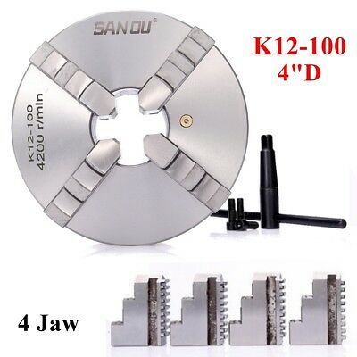 4'' 100mm Lathe Chuck Self Centering 4 Jaw Reversible Independent CNC Milling UK
