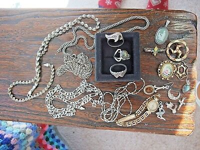 VINTAGE JOB LOT OF MAINLY SILVER JEWELLERY - Ring/Chains/Charms etc.
