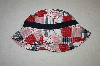 Janie and Jack Red White & Blue Multi-Pattern Cotton Sun Hat Size 6-12 Months