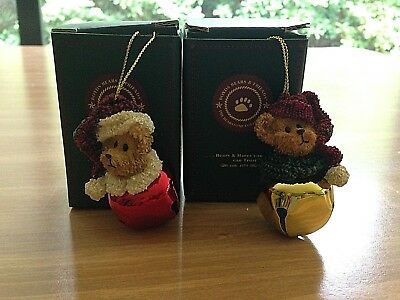 Boyds Bears & Frinds Set Of 2 Kringle Bell Santa Bear Ornaments - New In Box