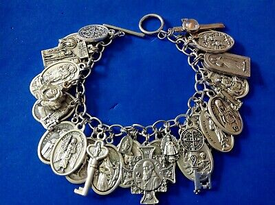 Custom Religious Saint Medals Charm Bracelet Metal Stainless Steel Guadalupe Lot