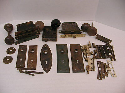 Vintage Lot Of Antique Door Parts Plates Mortise Locks Knobs Hinges As Is - VINTAGE LOT OF Antique Door Parts Plates Mortise Locks Knobs Hinges