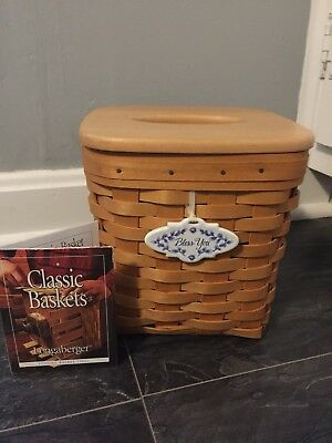 Longaberger Tissue Basket With Lid, Tie-on, And Certificate