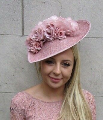 Large Blush Nude Dusky Rose Pink Teardrop Fascinator Hat Headband Flower 6256