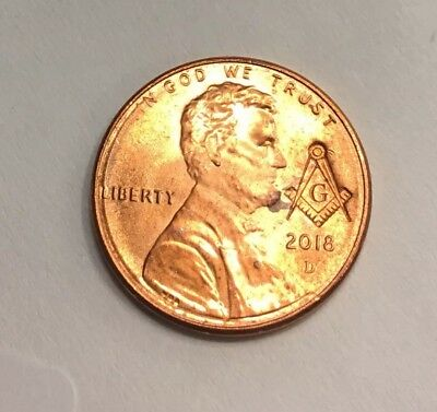 Masonic Freemason Compass And Square stamped on a 2018 Lincoln Penny