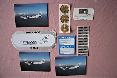 Pan Am Airlines Gold Globes A310 Bumper Sticker Luggage Bag Label Postcard Lot