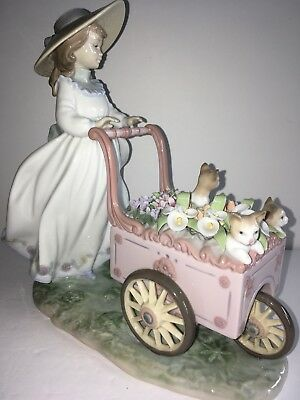 Lladro Kitty Cart - Girl with flower cart and kittens