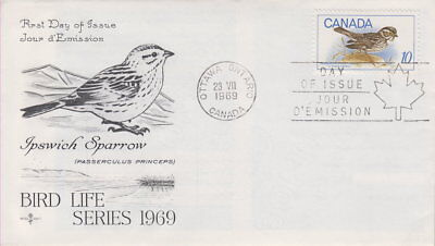 Canada #497 10¢ Ipswich Sparrow On Rose Craft Cachet First Day Cover