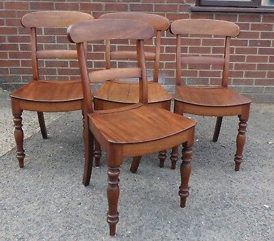 Set 4 William IV antique solid country mahogany panel seat kitchen dining chairs