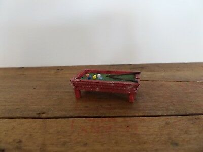 "Vintage Pool Table Handmade Wooden Dollhouse Miniature 1:48 1/4"" Scale"