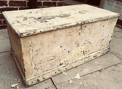 Antique Old Rustic Wooden Chest Trunk From 1835 Shabby Vintage Coffee Table Box