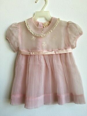 Sheer Pink 1950s Nannette Baby Frock Party Dress Accordian Pleat Lace Twirl 50s