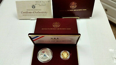 1988 US Mint Olympic Proof 2 Coin Set: $5 Gold & Silver Dollar Box/COA #731P