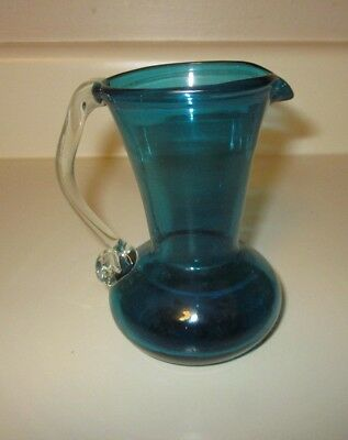 Vintage Blue Hand Blown Glass Mini Pitcher with Applied Handle  STUNNING!!!