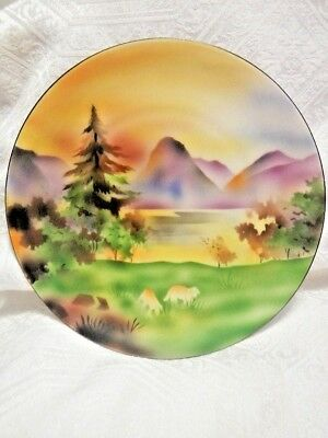 Antique Prov Saxe E.S. Germany Prussia Hand Painted Landscape 8 3/4""