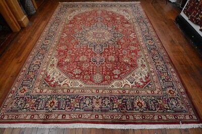 Vintage Persian Floral Geometric Design Rug, 8'x11', Red/Blue, All wool pile