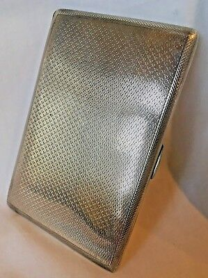 197 grams HEAVY SOLID STERLING SILVER CARD / CIGARETTE CASE ENGINE TURNED WWII