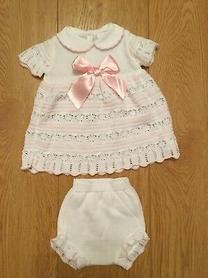 Baby Girls Spanish Style Knitted Dress And Knickers White 0-3 Months