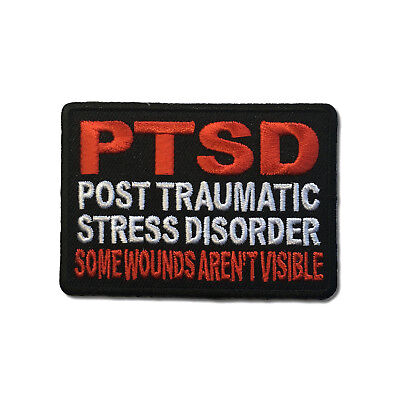 Embroidered PTSD Some Wounds Aren't Visible Sew or Iron on Patch Biker Patch
