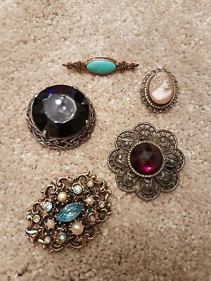 Vintage Antique Brooches Pins Bundle Joblot Of 5