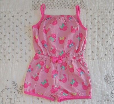 Lovely *DISNEY* Girls Pink Minnie Mouse Summer Playsuit - 3-4 Years - VGC