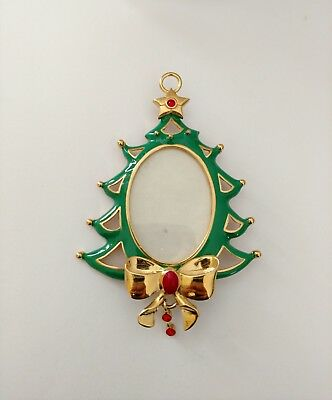 Premier Designs Jewelry TREE ORNAMENT Gold Plated Frame Red & Green Enamel NWOT