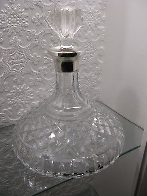 Solid Silver Topped Cut Glass Sherry Decanter London 1966