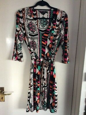 Next aztec/geo print 3/4 sleeve stretch jersey style dress Size 14
