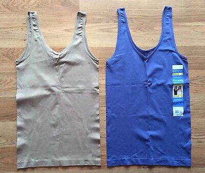 NWT Women's ELLEN TRACY Nude Denim Blue 2 Pc Reversible Tank Top Camisole M