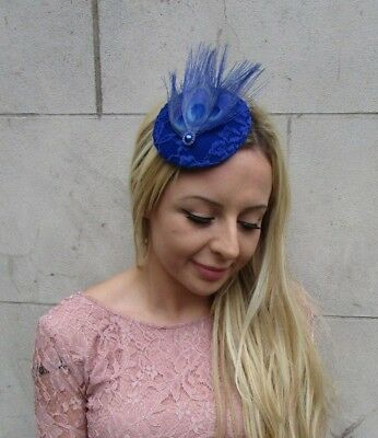 Royal Blue Peacock Feather Pillbox Hat Fascinator Hair Clip Races Cocktail 6260