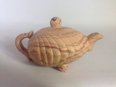 Yixing Teapot in Chinese Terracotta. Relieved Cockle Shell Design Marked, Signed