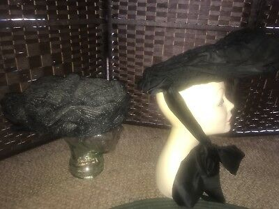 Antique Ladies Hats Lot Of Two Early 1900's