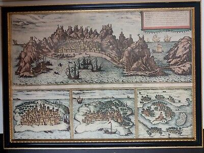 Antique Map. Braun and Hogenberg. Aden Mombaza Quiloa Cefala.  53. 16th Century.