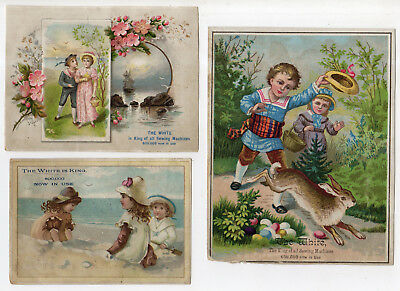 5 White Is King Sewing Machine Tradecards, Children And Rabbit, Birds On A Wire