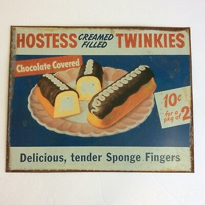 Hostess Cream Filled Twinkies Metal Sign Delicious Sponge Fingers Chocolate