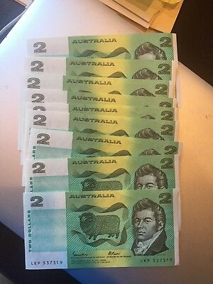 Lot  Of 10 UNC 1985 Australia 2 Two Dollar Bill  Banknote Notes