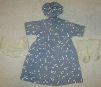 "My Twinn Doll Outfit Blue Floral Dress Panties Sock And Scrunchie  For 23"" Doll"