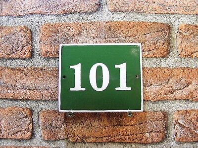 Vintage Sign House Door Number 101, Green and White Enamel Metal Plate Authentic