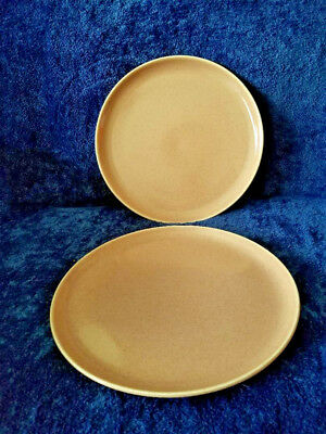 """2 Russel Wright American Modern Coral 10"""" Dinner Plates"""
