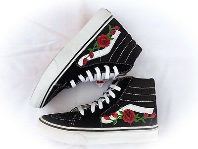 de60624b20f NEW CUSTOM VANS Sk8 Hi Skateboarding Red Rose Rose Embroidery Patch ...