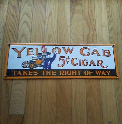 Vintage High Quality Porcelain Advertising Sign Yellow Cab Cigar