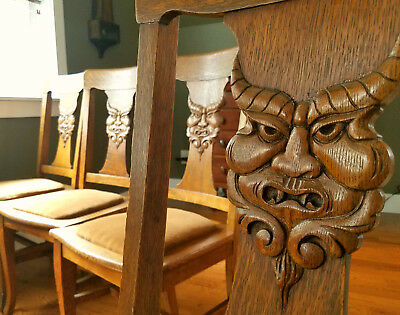 Superrare, 1880's hand-carved North Wind, Green Man quarter sawn oak chairs, lot