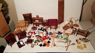 Lot Of 180+ Miniature Doll House Furniture And Items