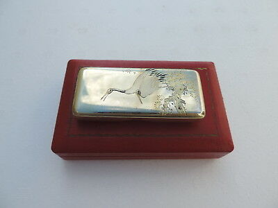 Finest Antique Rare Signed Japanese Solid Sterling Silver Bonbonniere Box Japan
