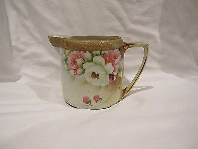 Antique Nippon Creamer Maple Leaf Mark Hand Painted Roses