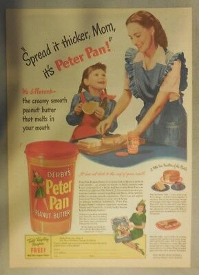 Derby's Peter Pan Peanut Butter Ad: Spread It Thicker Mom 1940's 11  x 15 inches