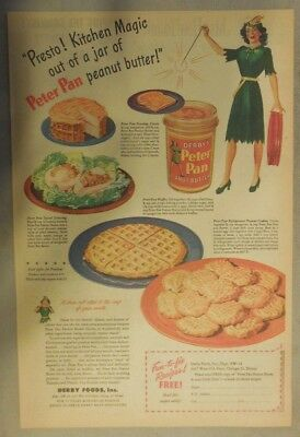 Derby's Peter Pan Peanut Butter Ad: Presto Kitchen Magic! 1940's 11  x 15 inches