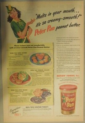 Derby's Peter Pan Peanut Butter Ad:  Melts in Your Mouth! 1940's 11  x 15 inches