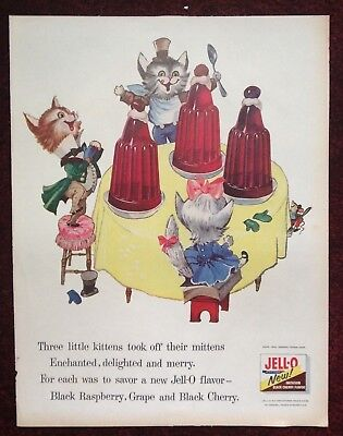1955-1956 Vintage Lot Magazine Ads Cats and Jello w/ Mitten Nursery Rhyme